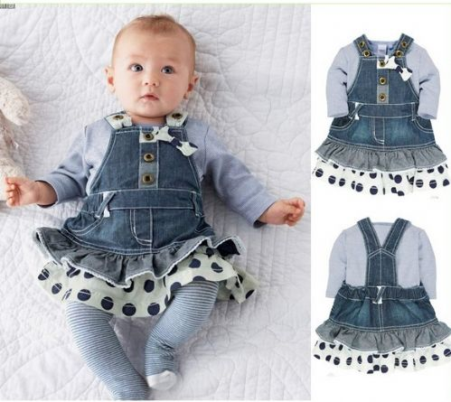 Grey long sleeve t-shirt plus denim polka dot suspender set bow dress.
